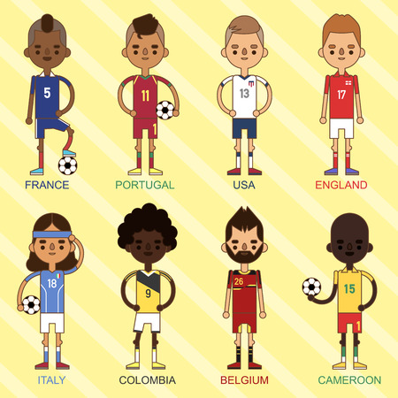 National Euro Cup soccer football teams vector illustration and world game player captain leader in uniform sport men isolated characters. Active winner playing male group. Иллюстрация