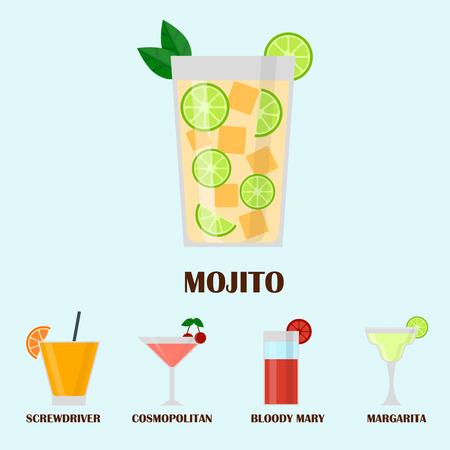 アルコールの飲み物飲料カクテル ウイスキー ラガー リフレッシュメント コンテナーとメニュー酔って概念異なるベクトル図です。レストラン テキ  イラスト・ベクター素材