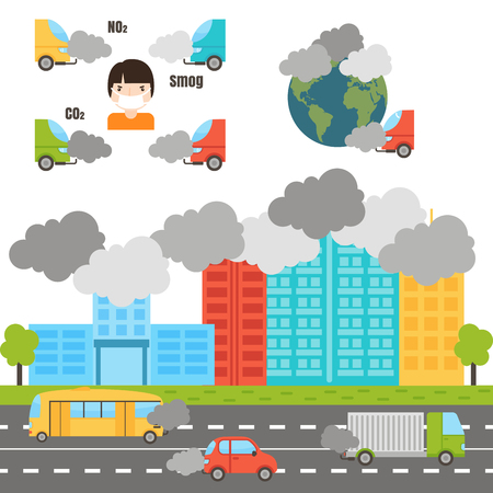 Ecology infographics set with air water and soil pollution charts vector illustration. Smoke air pollution and factory smog power energy ecology global danger atmosphere.