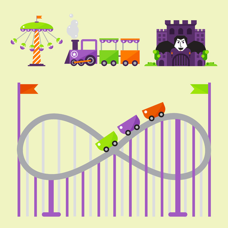 Slides and swings amusement park, ferris wheel attraction park.