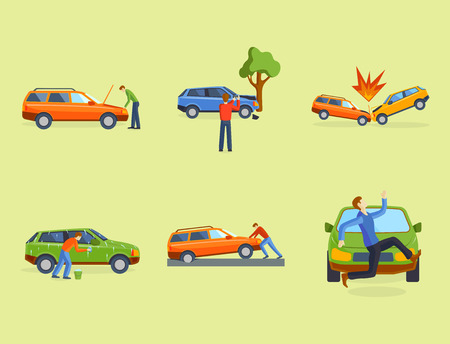 Car crash collision traffic insurance safety automobile emergency disaster and emergency disaster speed repair transport vector illustration. Auto accident involving broken transportation. Stok Fotoğraf - 87275115