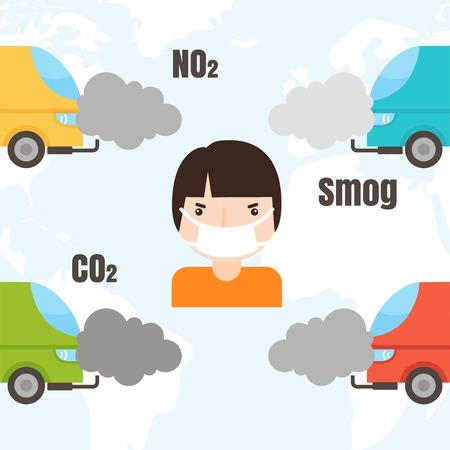 Kologie Infografiken mit Luft Wasser und Boden Verschmutzung Diagramme Vektor-Illustration festgelegt. Standard-Bild - 87275124
