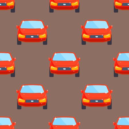 フラットな赤車車両型デザイン セダンのシームレスなパターン技術スタイル。