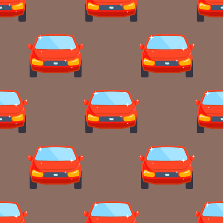 Flat red car vehicle type design sedan seamless pattern technology style.