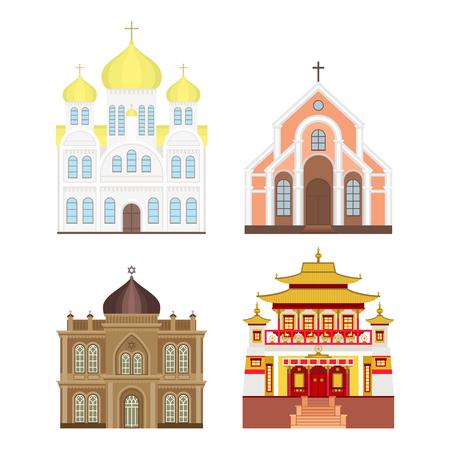 大聖堂と教会の伝統的な寺院建築ランドマークの観光はベクトル イラストです。