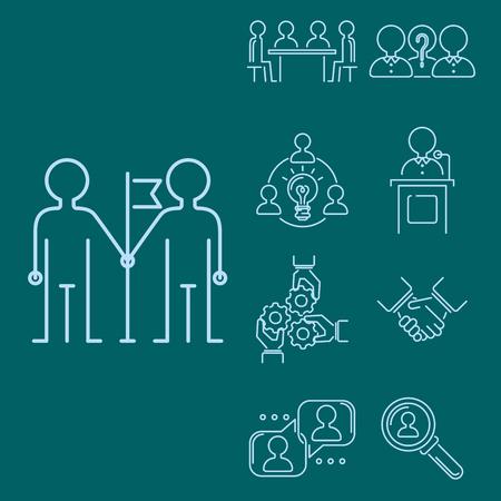 ビジネスのチームワーク、チーム ビルディングの薄いライン アイコン、仕事、コマンド、管理概要人材概念図