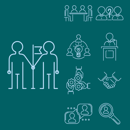 Business teamwork, teambuilding thin line icons, work, command, management outline  human resources concept illustration