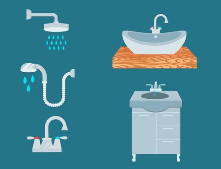 Bathroom icons, process, water savings symbols, hygiene, washing, cleaning, beauty  illustration. Illusztráció