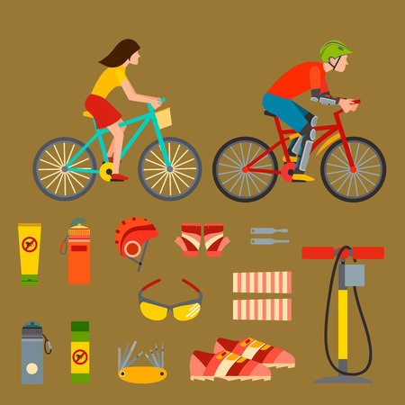 Active, casual transportation, accessories, biking, sport equipment, lifestyle cycling in flat bicycle equipment illustration.