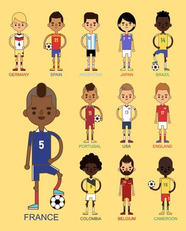 El ejemplo nacional de los equipos de fútbol del fútbol de la taza euro y el líder del capitán del jugador del juego del mundo en hombres del deporte del uniforme aislaron caracteres. Foto de archivo - 87275147