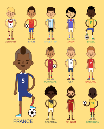 National Euro Cup soccer football teams illustration and world game player captain leader in uniform sport men isolated characters.