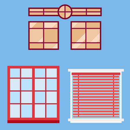Different types house windows elements flat style glass frames construction decoration apartment illustration. Illustration