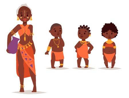전통적인 의류에서 마사이족 아프리카 사람들 행복한 사람 가족 그림입니다. 일러스트