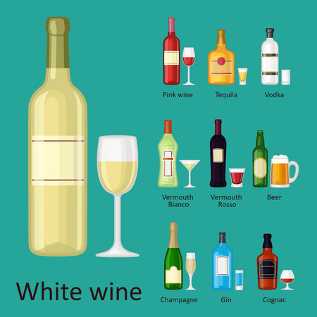 Alcohol drinks, beverages, bottle, lager container drunk different glasses vector illustration.