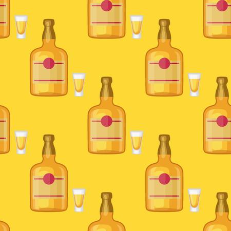 De alcohol drinkt dranken, herhaalde de glazencontainer van het flessen herhaalde patroon verschillende glazenillustratie. Stockfoto - 87275154