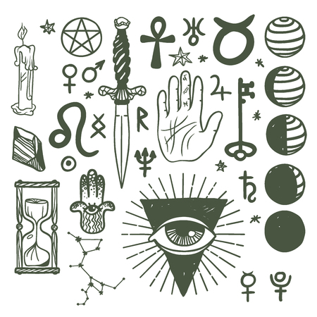 Trendy esoteric symbols, sketch hand drawn religion philosophy spirituality occultism chemistry science magic illustration Illustration
