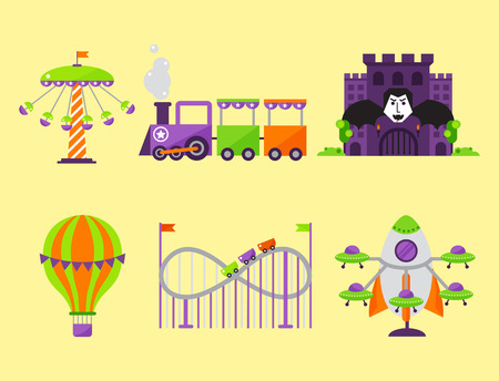Carousels amusement attraction park side-show kids outdoor entertainment construction illustration.