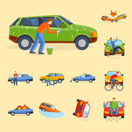 Car crash collision traffic safety automobile emergency disaster and emergency disaster speed repair transport illustration.