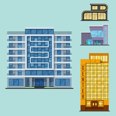 City buildings modern tower office architecture house business apartment home facade  illustration.