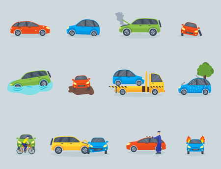 Car crash collision traffic safety automobile emergency disaster and emergency repair transport illustration.