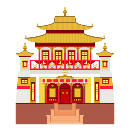 Chinese temple, traditional building, landmark, tourism illustration