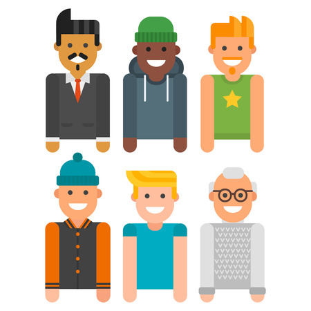 Group of men portrait different nationality friendship character team happy people young guy person illustration.