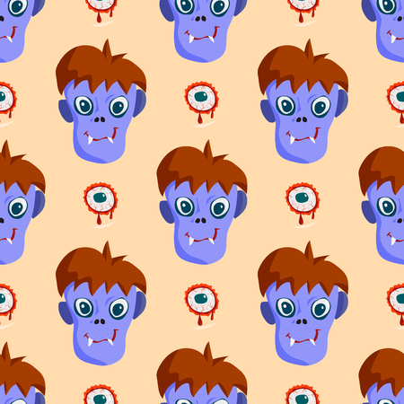 Colorful zombie scary cartoon character pattern. Illustration