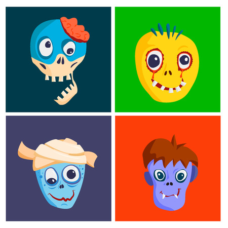 Colorful zombie scary cartoon character cards. Illustration