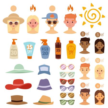 Gens, soleil, bronz, plage, dehors, été, soleil, soleil, caractères, protection peau, vacances, coup de soleil, vecteur, illustration. Avatars humains mignonne femme degré de coup de soleil. Banque d'images - 87275181