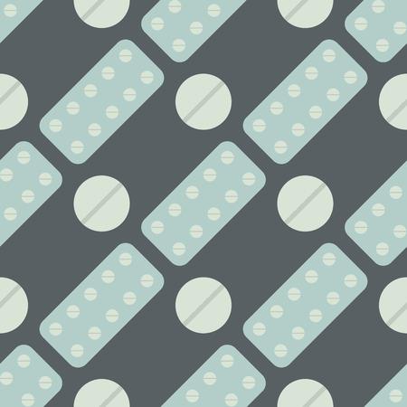 Nahtloses Muster mit pharmazeutischer Vektorillustration der einfachen flachen flachen Schmerzmittel des Pillen- und Kapselhintergrundes. Medikamentenvitaminantibiotikumtablettenpflegedesignkrankheit. Standard-Bild - 87275188