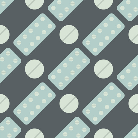 Seamless pattern with pills and capsules background simple flat painkiller pharmaceutical vector illustration. Medication vitamin antibiotic tablet care design illness. Ilustração