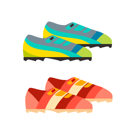 Vector go for walk illustration pair of vintage sneakers. Çizim