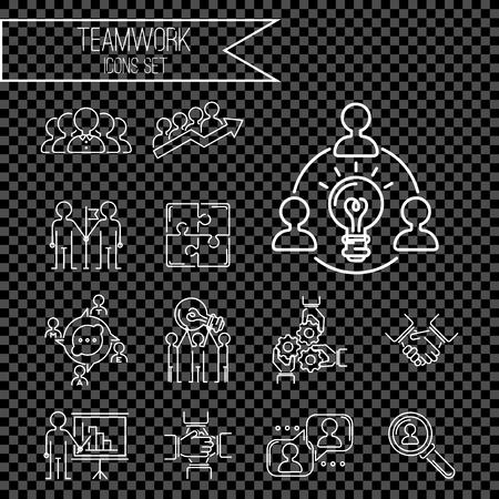 Dünne Linie Ikonen des Geschäftsteamwork-teambuildings bearbeiten Anweisungsmanagement-Entwurfshilfsmittelkonzept-Vektorillustration Standard-Bild - 87275193