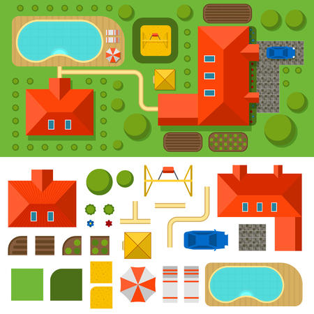 Plan of private house vector illustration top view of outdoor home landscape villa map constructor design building elements.