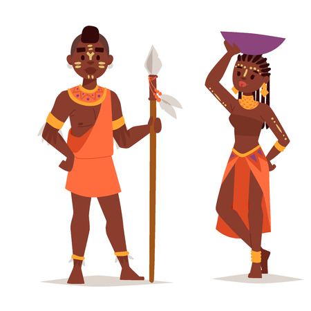 kenya: Maasai african people in traditional clothing happy person families vector illustration.