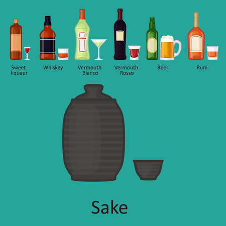 Alcohol drinks beverages cocktail bottle lager container drunk different glasses vector illustration.