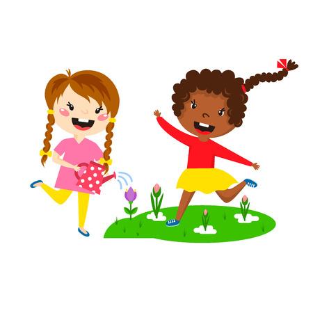 Kinderen spelen genieten van de lente aankomst warme zomer kleine karakters gelukkig spelen vectorillustratie.