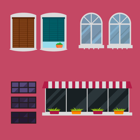Different types house windows elements flat style glass frames construction decoration apartment vector illustration. Illustration