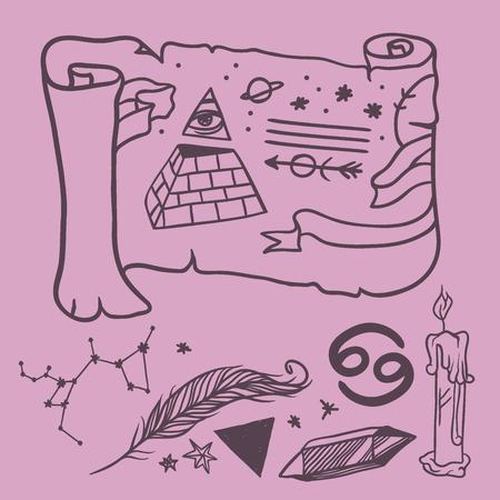 Simboli esoterici di vettore d'avanguardia schizzo disegnato a mano. Archivio Fotografico - 87352394