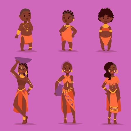 전통적인 의류에서 마사 이족 커플 아프리카 사람들 행복 한 사람 가족 벡터 일러스트 레이 션. 가족 미국인 성인 여성과 어린이.