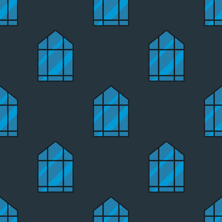 residential homes: House windows elements flat style glass frames seamless pattern background construction decoration apartment vector illustration.