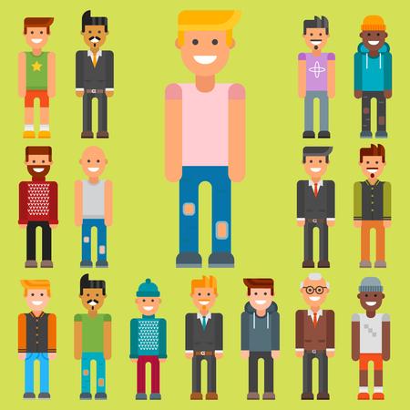 Group of men portrait in different nationality  illustration. Illustration