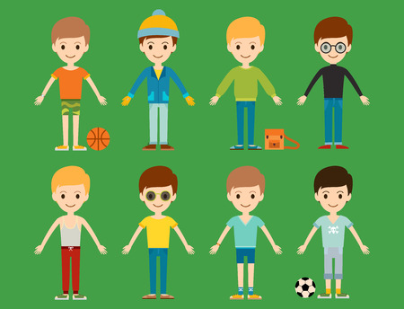 Group of young kid portrait illustration.