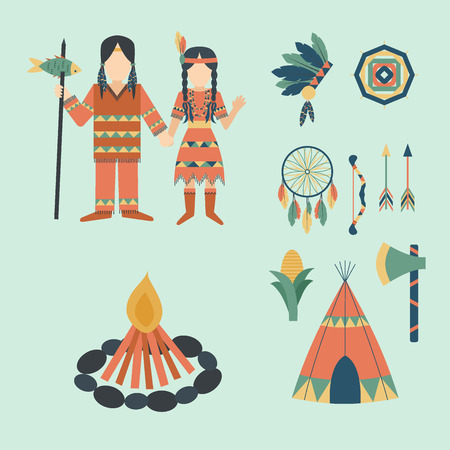 Indians icon temple ornament and element retro vintage hinduism ethnic people tools vector illustration