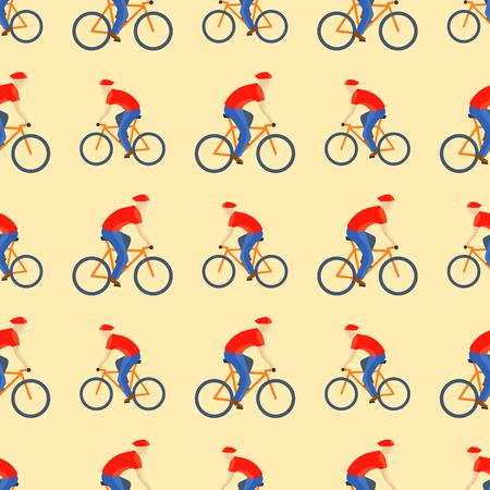 Racing cyclist in action seamless pattern vector illustration. Reklamní fotografie