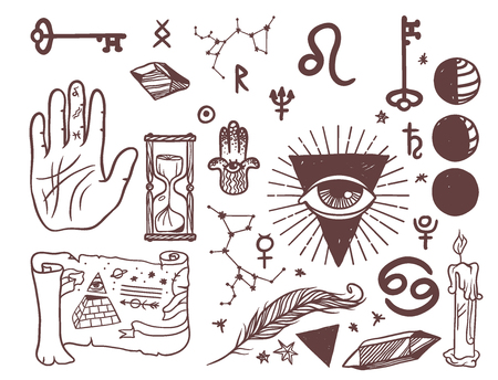 Trendy vector esoteric symbols sketch hand drawn religion philosophy spirituality occultism chemistry science magic illustration Stock Photo