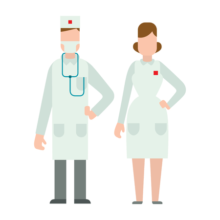 Doctors silhouette isolated on white vector illustration.