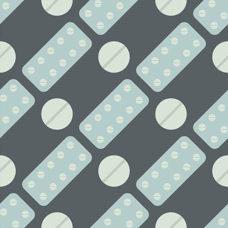 Nahtloses Muster mit pharmazeutischer Vektorillustration der einfachen flachen flachen Schmerzmittel des Pillen- und Kapselhintergrundes. Standard-Bild - 87352438