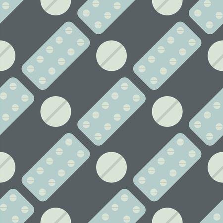 Seamless pattern with pills and capsules background simple flat painkiller pharmaceutical vector illustration. Imagens