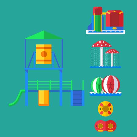 Water amusement aquapark playground with slides and splash pads for family fun illustration. Illustration